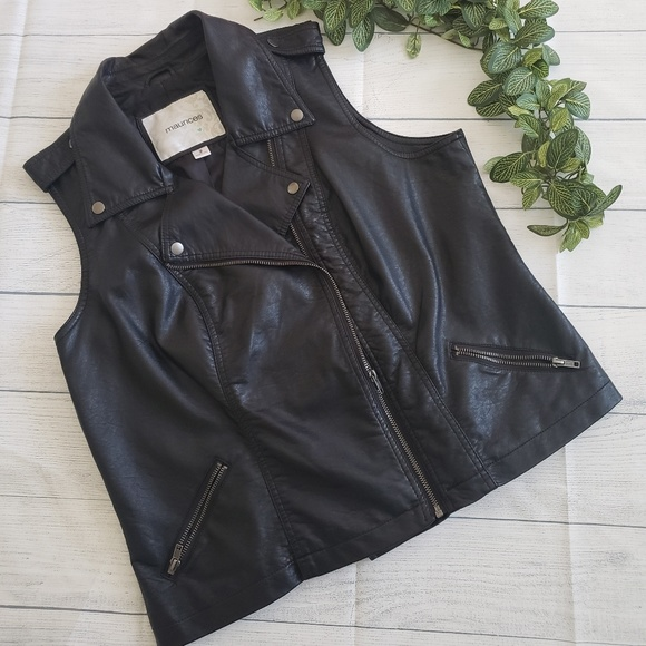 Maurices Jackets & Blazers - Maurices Black Faux Leather Lined Vest 2X